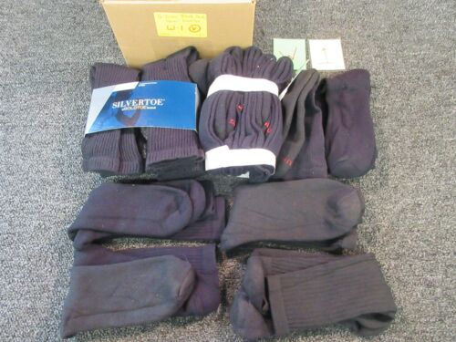 16 PAIRS BLACK CREW ATHLETIC SOCKS MEN 7-12 HANES SILVERTOE CLOTHES BULK LOT NEW for sale