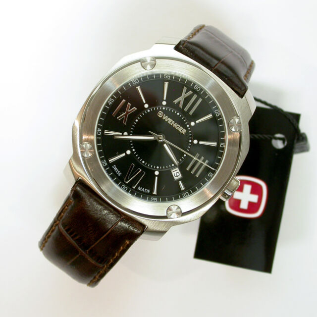 1bdbe160fb8 NEW  195 GENTS EDGE INDEX WENGER 43MM BLACK DIAL SS 100MWR STRAP WATCH   141119