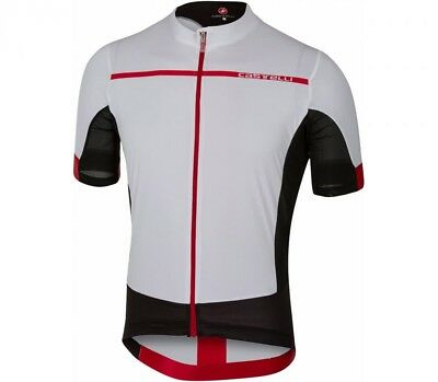 Castelli Forza Pro Short Sleeve Cycling Jersey White Red Large CS079 EE 07 2d90263ba