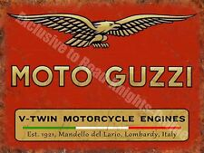 Vintage Garage Moto Guzzi, 121, Italian Motorcyles V-twin, Large Metal/Tin Sign