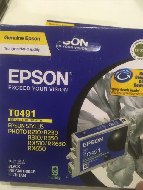 2 x Epson T0491 Black Ink Cartridges. No Box.