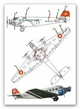 Peddinghaus 1/72 Junkers Ju 52/3mg4e Markings Swiss Ju-Air A-702 Dessau 2406