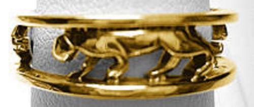 24kt Gold Pltd Sterling Silver JAGUAR Anneau Bijoux Panthère Cougar Choisissez votre taille