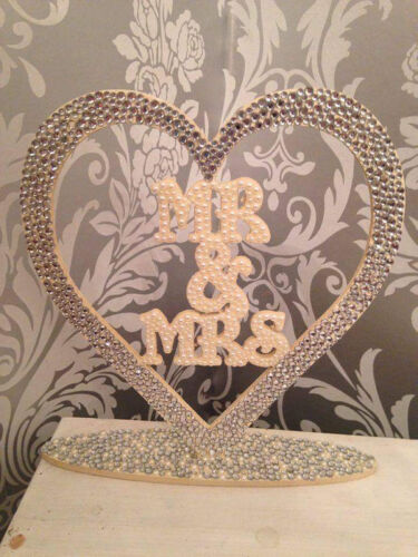 Wooden Heart  Mr And Mrs free standing sign wedding Vintage pearls gems top tabl