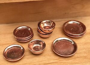 Details about Miniature Dollhouse FAIRY GARDEN Accessories ~Copper Color  Dishes ~ NEW