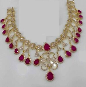45-Ct-Red-stone-Pear-Shape-Ruby-amp-Diamonds-Choker-Necklace-14kt-Yellow-Gold-Over