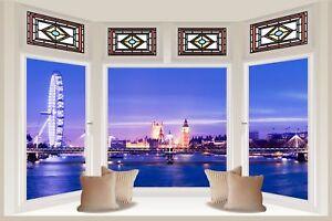 Huge-3D-Bay-Window-London-View-Wall-Stickers-Film-Mural-Art-Decal-Wallpaper-77