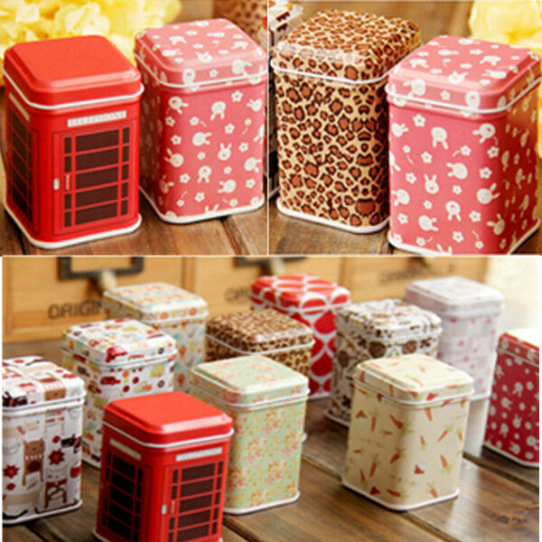 Storage Tin Box Organizer Multi-style Tea box for Jewelry Candy Container Tin*1