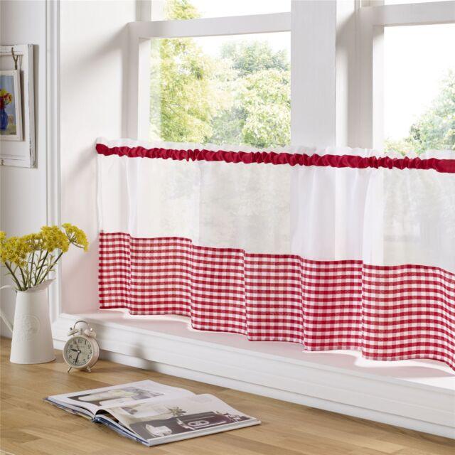 Rouge et Blanc Vichy 150cm X 45.7cm – 150cm X 45cm Cuisine Café Panneau-Rideau