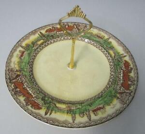 Vintage-EMPIRE-England-DEVON-Cake-Plate-9-034-dia-Art-Deco-with-handle