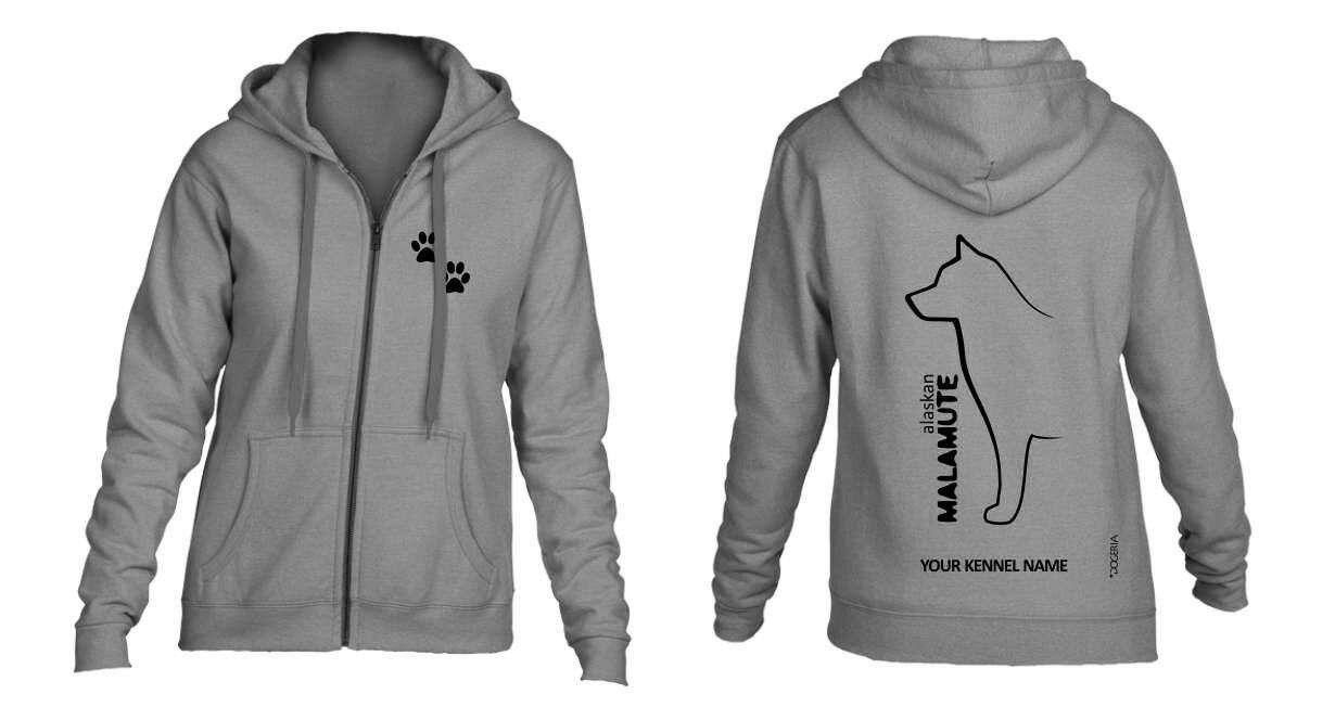 Alaskan Malamute Full Zipped Dog Breed Hoodie, Exclusive Dogeria Design