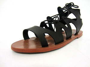 Gladiator Spot Sandals Black F0r963 11a Ladies Front On Laced qRwXRS7