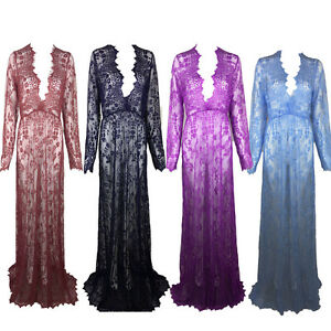 sexy transparent deep vneck long lace sheer dress