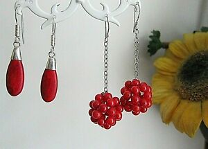 Round or Pear Shape Red Coral, Long  Drop Silver Tone Earrings.