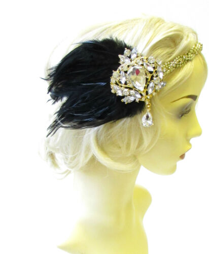 Black Gold Silver Feather Headpiece 1920s Headband Flapper Great Gatsby Vtg 1824