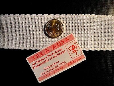 1mt Bordo Bordura Fascia in tela aida da ricamare H 10 cm colore azzurro