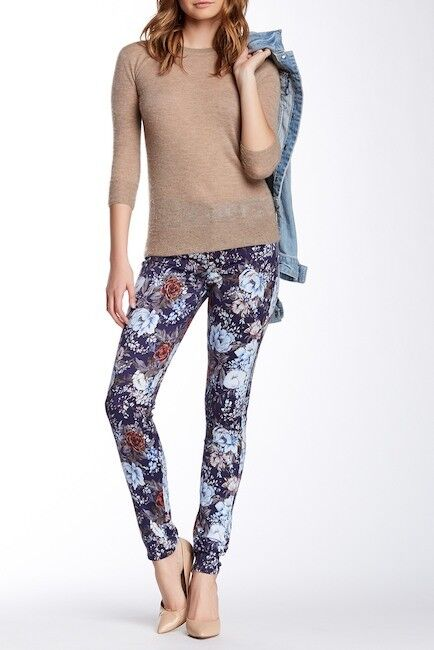 NEW 7 FOR ALL MANKIND THE HIGH WAISTED FLORAL PRINTED SKINNY JEANS 30 X 30