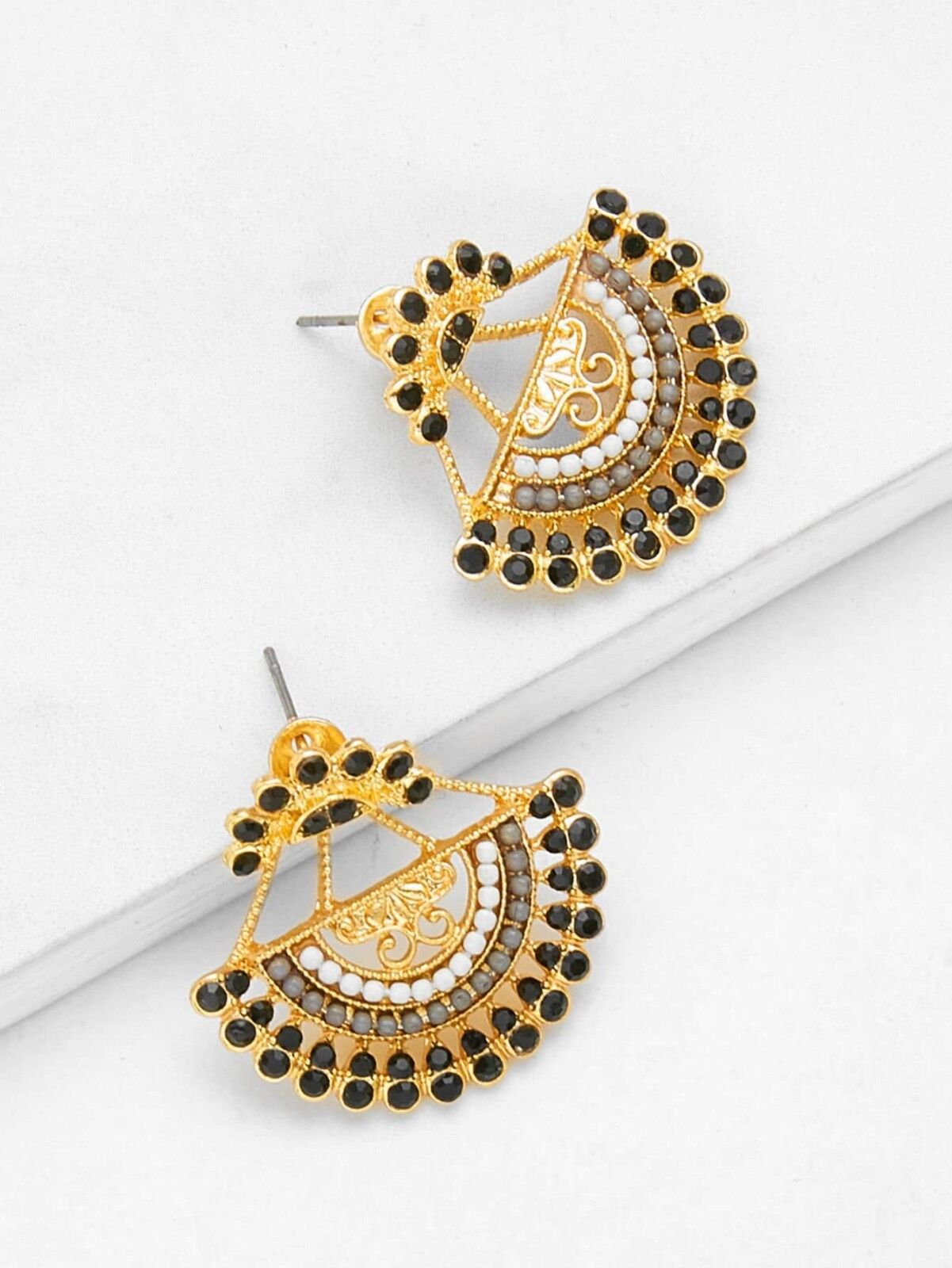 Classic Semicircle Shaped Drop Earrings With Rhinestone