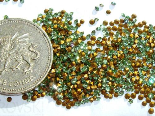 60 x Swarovski 3ss 8pp Peridot gold-foiled #1012 chatons