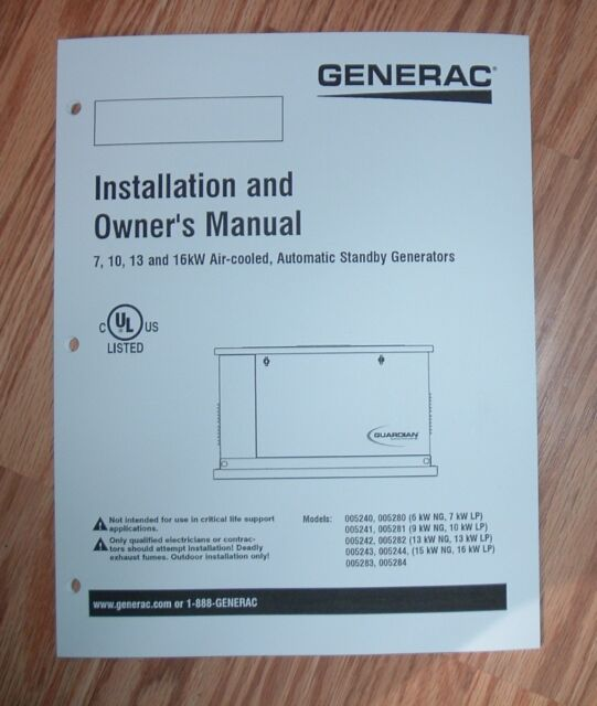 Admirable Generac 005240 005280 Standby Generator Owners Manual For Sale Wiring Cloud Hisonuggs Outletorg