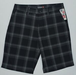 Men's QUIKSILVER Black Gray Plaid Shorts 32 NWT NEW Awesome!