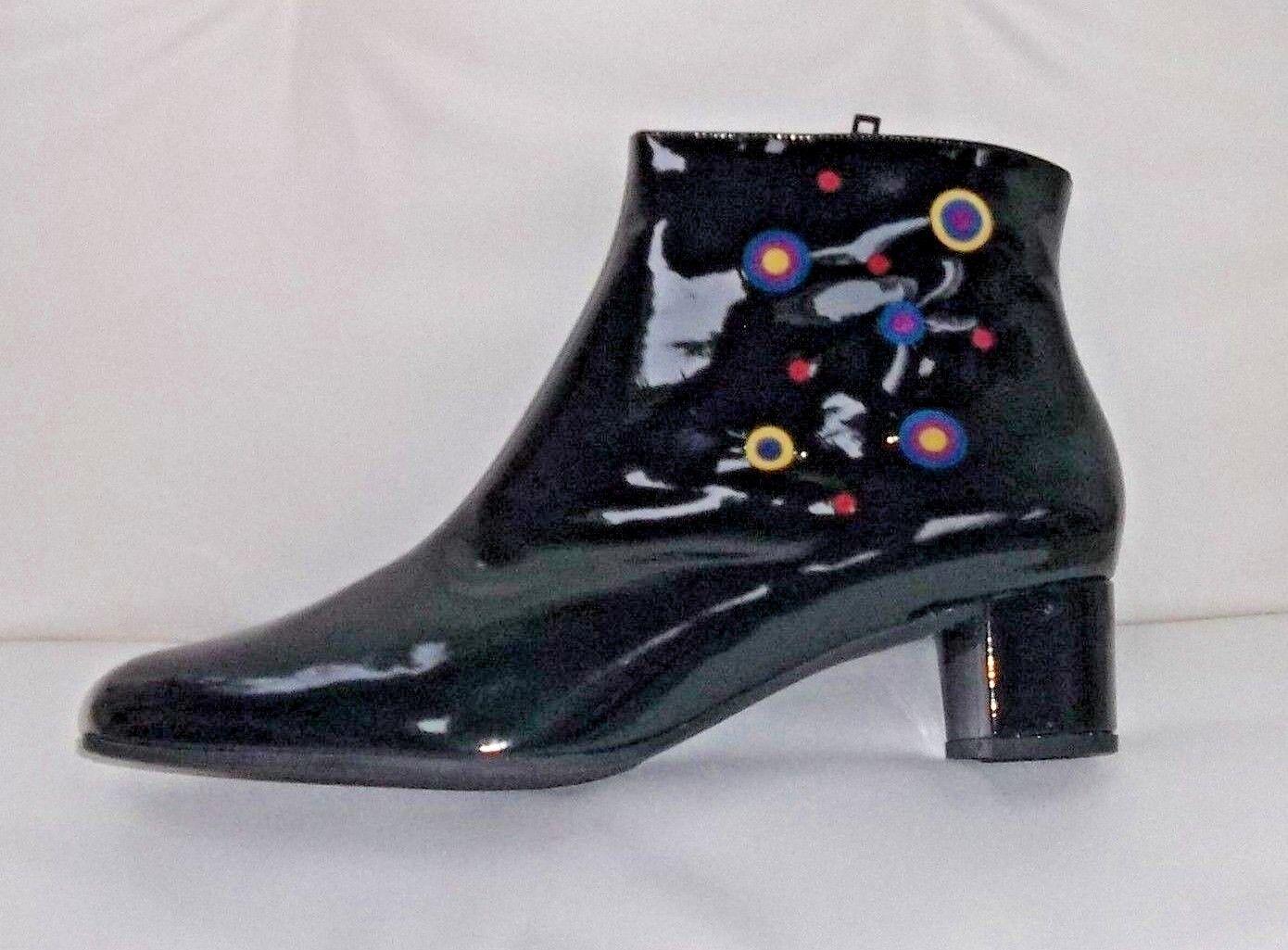 AZUREE Noir MultiCouleure bottines vernies à, UK 8 EU 41   BNWB