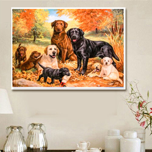 UK Eight Dogs Full Drill 5D Diamond Embroidery Painting Cross Stitch Decor QW