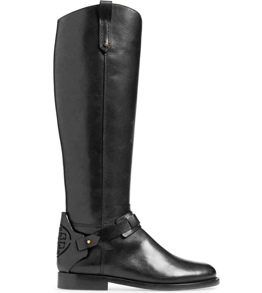 la migliore moda TORY TORY TORY BURCH Derby nero Leather Knee-High Tall Riding avvio Logo US 10.5 Side Zip  negozio online outlet