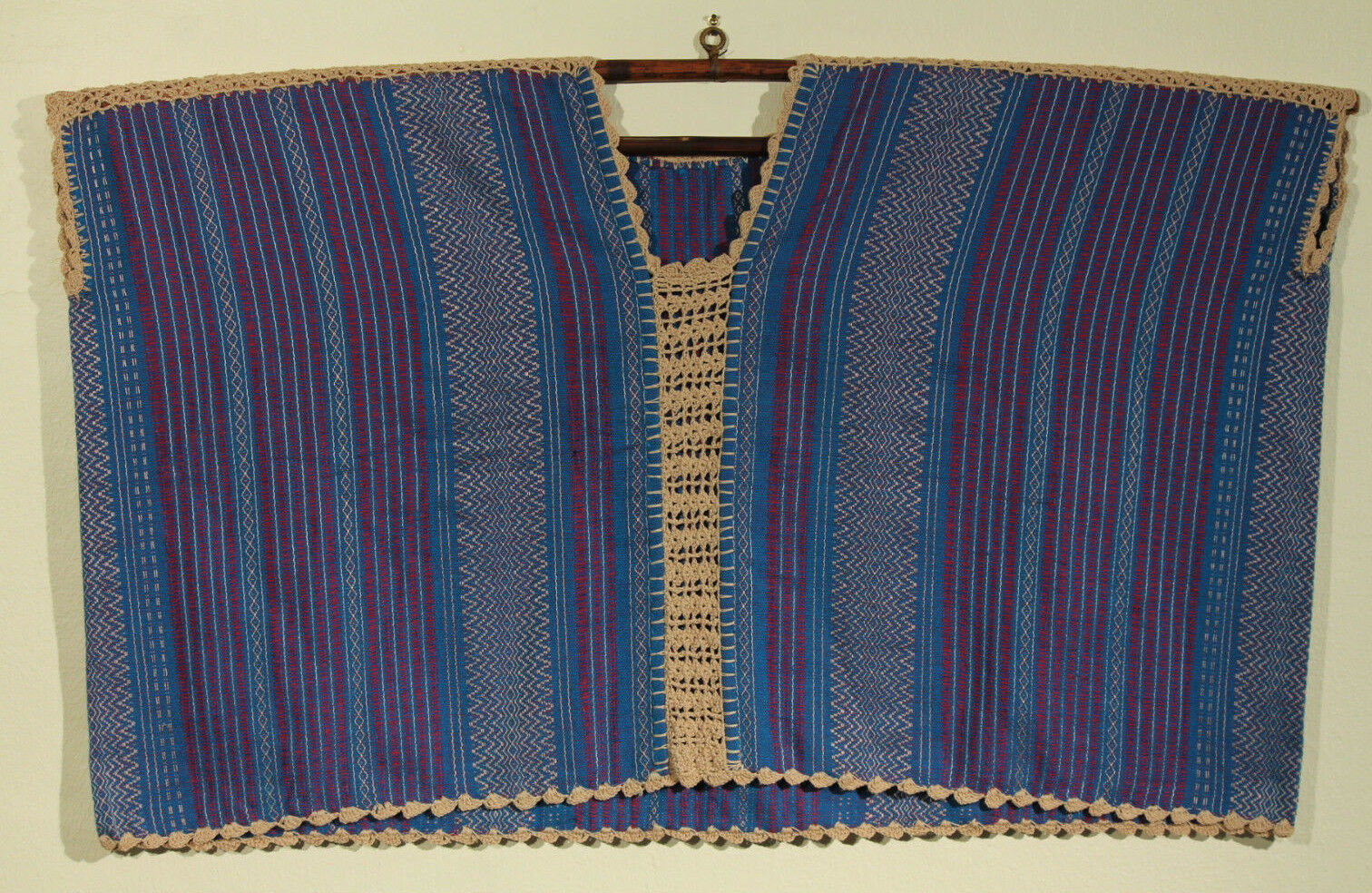 New Authentic Handmade Stitched Mexican Hand Loomed Huipil Blouse Top Folk Art