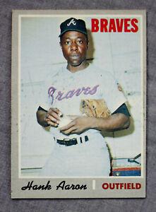 Hank Aaron HOF MVP Atlanta Braves Brewers 1970 Topps MLB Baseball Card #500 Nice