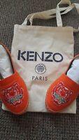 Authentic Kenzo Orange Lion Head Espadrilles. New with original shoe box