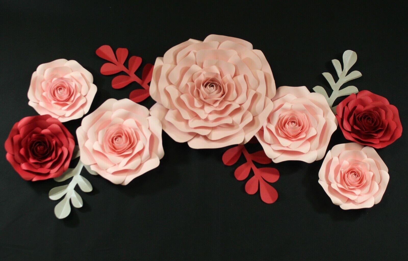 DECOR DANS LE Box 11 pièces Papier fait main fleur Set entièrement assemblé-Rouge Rose
