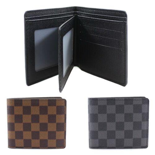 Men/'s Wallet Check Design Bifold Internal Multi Card Slots Purse New