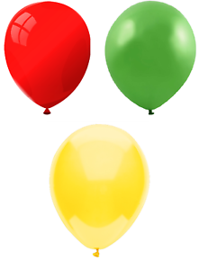 25cm Party // Birthday Balloons Bright Green /& Yellow Red Multipack