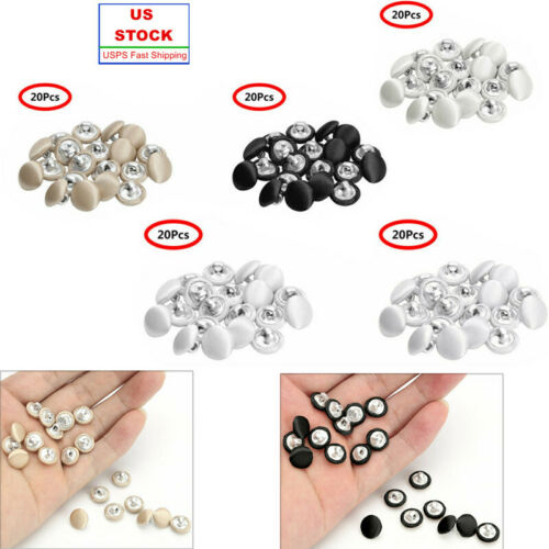 US /_20Pcs/_10mm Smooth Satin Covered Metal Shank Buttons for Gowns Blouses Coat