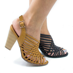 a98f9791ac1 Details about Hills Peep Toe Huarache Woven Sling Back Stacked Heeled  Sandals