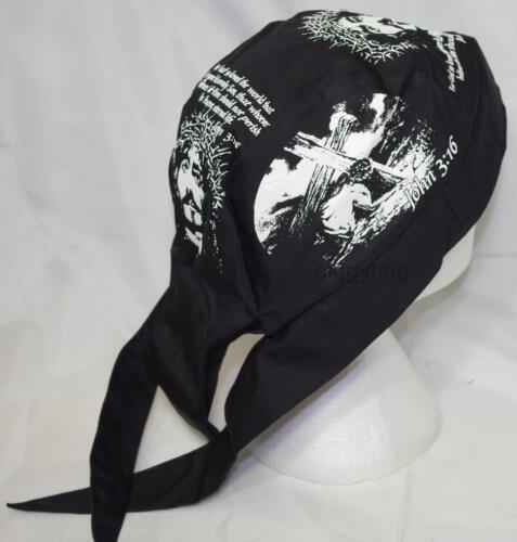 skull cap hat do du doo rag Jesus fish// ride with God// John 3:16  sweat band USA