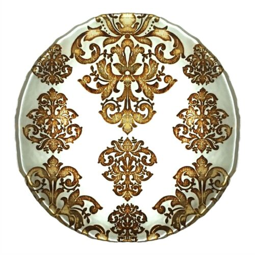 Set//4 PALACE Ivory Gold Glass Charger Plates