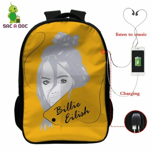 *Billie Eilish USB Rucksack Laptop Schule Sport Reise 16 Inch Musik Fan Kinder
