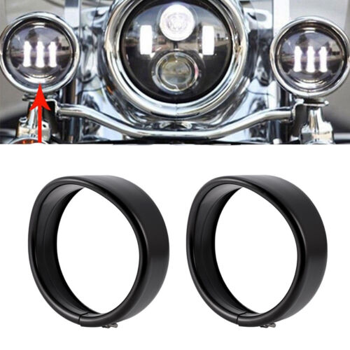 Pair Black 4-1//2/'/' Passing Fog Light Lamps Trim Ring Visor for Harley Davidson