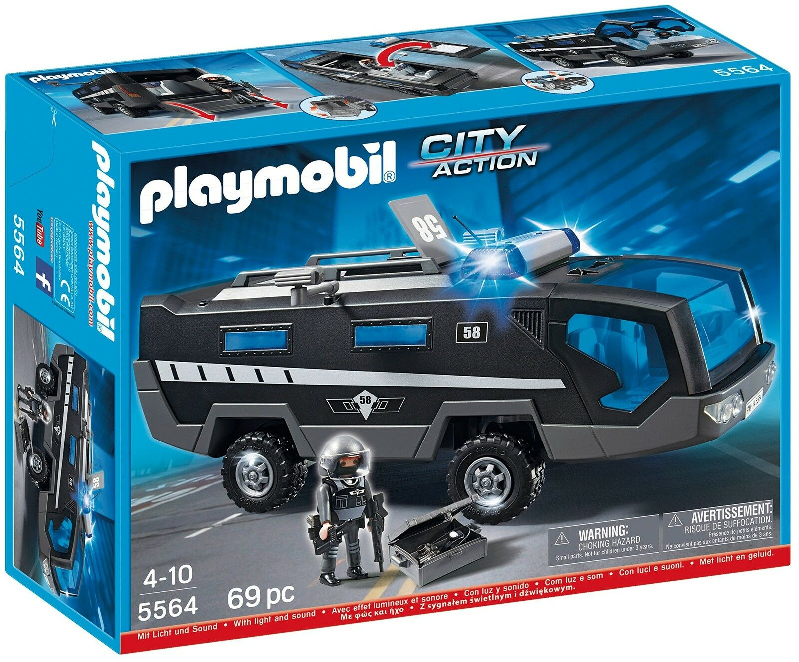 Playmobil 5564 City Action Police Tactical Command Vehicles with Lights Sound