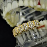 18k Gold Plated Grillz Bottom Cz Cubic High Quality Iced-out Micro Pave Teeth