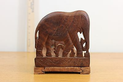 Vintage Bookends Elephant Wooden Hand Crafted Sliding Design