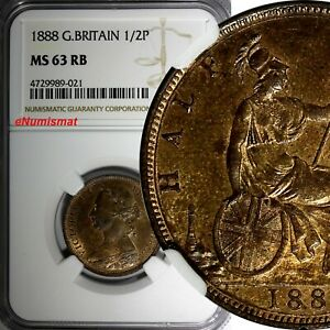 Great-Britain-Victoria-1837-1901-Bronze-1888-1-2-Penny-NGC-MS63-RB-KM-754
