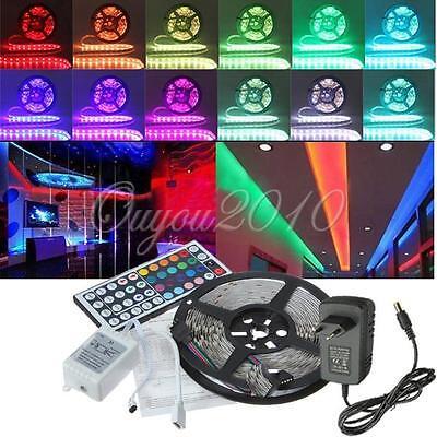 Tira Luz 5M 5050 300 LED RGB Multicolor Flexible 44 IR Remote + 12V 2A Adapter