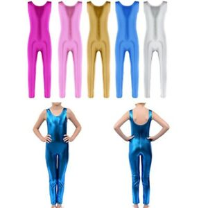 Girls Kids Gymnastics Gym Ballet Athletic Leotards Unitard Shiny 4-10Y Dancewear