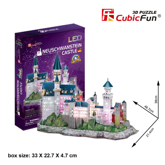 3D PUZZLE CASTELLO NEUSCHWANSTEIN WITH LIGHTS LED-128 PIECES (IDEA CHRISTMAS)