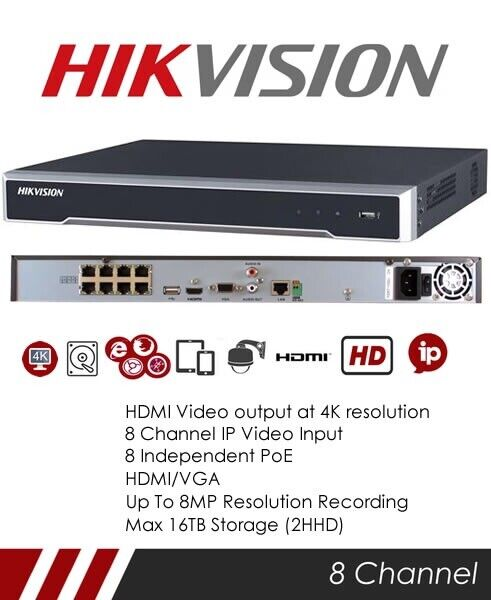 Hikvision DS-7608NI-K2/8P - 8 Channel NVR PoE IP 4K 8MP UK Stock