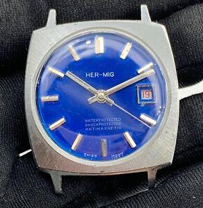 Her-mig-Cal-Eb-8610-Main-Manuel-Vintage-34-mm-Pas-Fonctionne-pour-Pieces