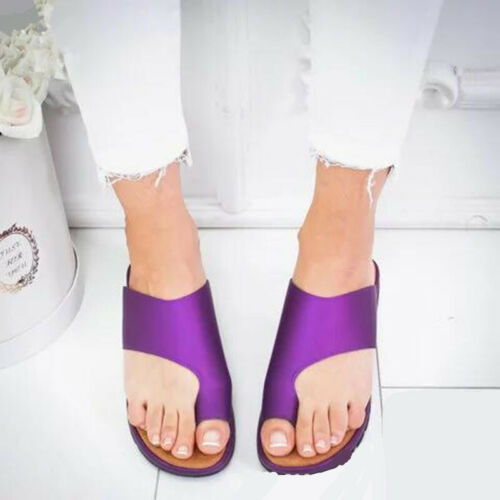 Women Comfy Toe Ring Wedge Sandal Shoes Ladies Bunion Corrector Mules Shoes Size